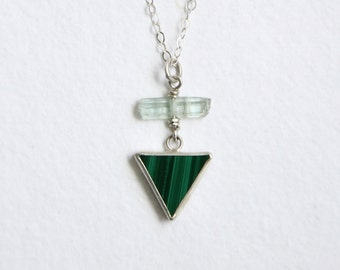 Raw Aquamarine Crystal Necklace, Green Malachite, Sterling Silver Necklace, Blue Stone Jewelry, Triangle Necklace