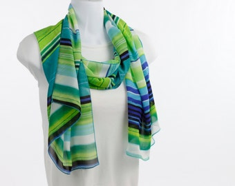 Cobalt Blue, Aqua Lime Green Stripe Traditional Chiffon Sheer Long Scarf ~ SH254-L5