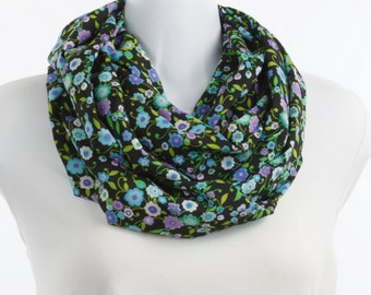 Double Loop Wide Silky Infinity Scarf in Multi Colored Sweet Bright Flowers on a Black Background Blue, Lavender, White, Pink~ SK203-L1