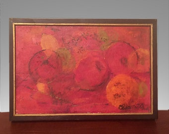 Modernist Oil Painting by Artist Eleanora Kissel Abstract Still Life with Five Red Apples Mid Century Original Art Work