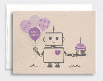 Robot Birthday Card - Brown Recycled Card - Kawaii Happy Birthday Card - Purple, Red, Orange, Pink or Blue