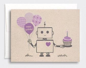Robot Birthday Card - Brown Recycled Card - Kawaii Happy Birthday Card - Purple, Red, Orange, Pink or Blue