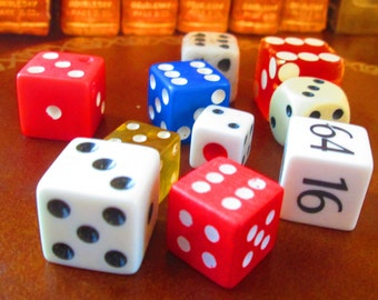 10 Miscellaneous  Dice.  Different Sizes, Colors and Composition.  Y-081