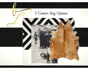 Floor Rugs - Area Rug - Black and White -Underfoot- 3 Rug Options- Custom Selected  For Your Space- Interior Design - E-Design