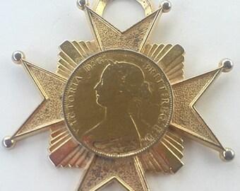 MOVING SALE Half Off Large Vintage Gold Tone Metal Maltese Cross Coin Pendantsigned H Pomerantz Ny