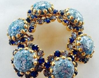 MOVING SALE Half Off Broken But Beautiful Royal Blue Easter Glass Cabochon Rhinestone Gold Tone Metal Brooch