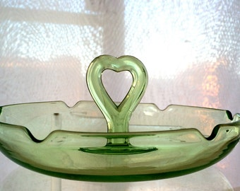 Depression Green Glass Card Table Ashtray 40s/50s