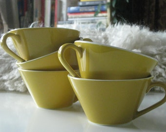 Mid Century Modern mustard yellow Syralite cups by Syracuse pottery made in USA x5