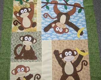 Appliqued Monkey Baby Quilt