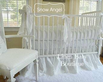 White Linen Baby Bedding 3 or 5 Pieces. Crib Bedding. Choose Pieces. Skirt, Bumpers, Blanket, Pillow, 3 Decorative Bows.
