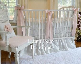 Linen Baby Bedding 3 Pieces. White Linen Crib Bedding 3 Piece Set. Skirt, Bumpers, 3 Decorative Bows.