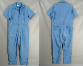 As-Is. Dickies Light Blue Coveralls. or Customizable Zombie Costume OPTIONAL BLOOD Tatters Grunge & Spiders. Halloween Costume. size 44 Med