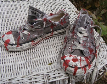Unisex Kids Boys or Girls Realistic ZOMBIE SHOES Gray Converse All Star Low Top Chucks Bloody Costume Youth Size 12