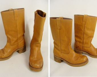 Campus Boots. vintage 70s Leather Boots. Honey Brown Boots. Men's 8.5 OR women's size 10