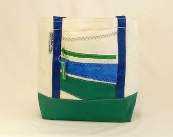 Recycled Sails, Sail Bag, Nautical Gift, Beach Bag, Nautical Bag, Gym Bag, Classic Tote, White Bag, Green Bag, Blue Bag (R1)