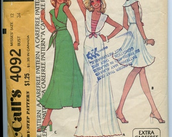 McCall's 4092 Stephen Burrows Wrap Top And Middy Top And Skirt Size 12/Bust 34 Vintage 70s Sewing Pattern