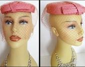 1950s Hat  .  Veil .  Pink .  Mad Man  .  Rockabilly  .  Wedding  .  Courture