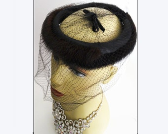 Mink Hat  . Dark Sable  . 1950s  .  Veil  . Gorgeous
