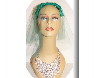 1950s Veil - Green - Satin - Netting - Wedding