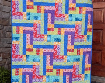 Scrappy Patches Quilt Pattern in 7 Sizes from Wall to King ~ Jelly Roll, Fat Quarter & Yardage Friendly ~ PDF Pattern ~ BusyHandsQuilts