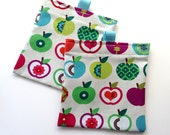Reusable Snack Bag.  Retro Apple Print. Velcro Closure with Pull Tabs.