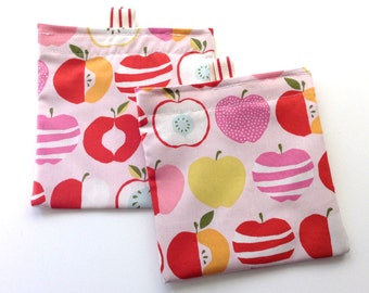 Reusable Snack Bag.  Apple Print. Velcro Closure with Pull Tabs.