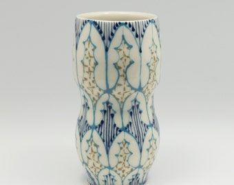 Ceramic Handmade Small Vase - with Turquoise, Green and Navy Pattern