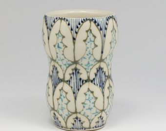 Ceramic Handmade Small Vase - with Green, Navy and Turquoise Pattern