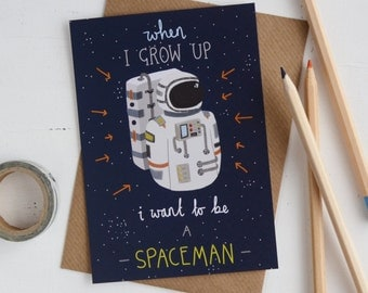 Astronaut Childrens Postcard SALE, I Want to be a Spaceman Mini Art Print, A6 Mini Wall Art, Inspirational Quote, Kids Bedroom Wall Artwork