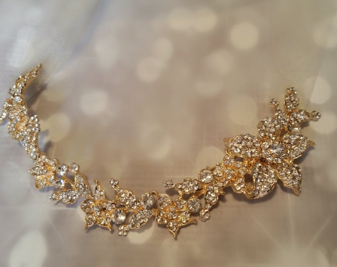 Gold Wedding Hair Vine Tiara with Rhinestone Flowers and Tulle