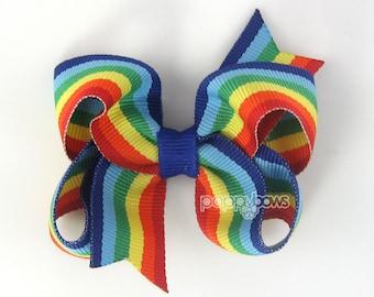 Girls Hair Bow - rainbow hair bow - rainbow hair clip - 3 inch hair bows - toddler hair bow - baby hair bow - little girl hairbows non slip