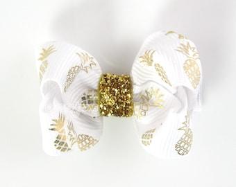 "Gold Pineapple Hair Bow - small hair bow - 2 inch hair bows - 2"" bows - little girls hair bows - hair clips - hairbow baby hair bows glitter"