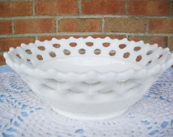 Westmoreland Milk Glass Doric Belled Bowl Vintage Fruit Bowl