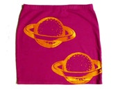 Pink and Yellow Double PLANET SATURN Galaxy Bodycon Mini Skirt Size XS/Small