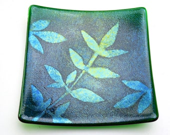 Iridescent Fused Glass Plate Powder Printed Leaves Dark Transparent Green