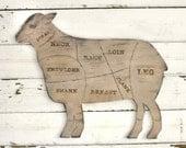 Lamb Sign Butcher Shop Meat Chart Butcher Diagram Rustic Home Decor Kitchen Wall Decor