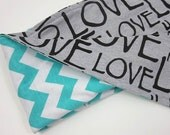 swaddle blanket for baby. aqua chevron and love print. soft jersey receiving blanket for boy or girl.