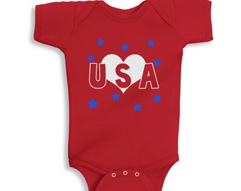 Love USA RED personalized baby bodysuit