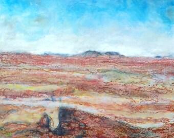 Original Encaustic art Beeswax Painting - - Painted Desert - 24x24 wax art by L. Merriman - St. Louis Wax Works