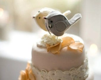 Custom Handmade Love Birds Wedding Cake Topper - Design your own!