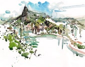 On Sugarloaf Mountain looking at Christ the Redeemer, Rio de Janeiro, Brazil, fine art print from an original watercolor sketch