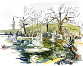 New York, Central Park watercolor sketch, Kerbs Boathouse, Stuart Little Sailboat spot - art print from a sketch