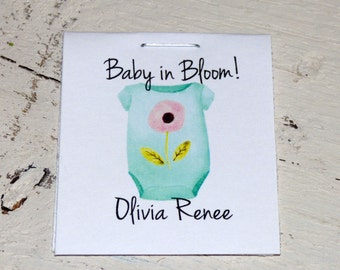 Personalized MINI Seeds Blue Outfit Baby in Bloom Sunflower or Wildflowers Flower Seed Packet Baby Shower Favors Shabby Chic Rustic