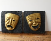 Vintage 1955 Tragedy and Comedy mask wall art - Miller Studio - black and gold mid century drama art