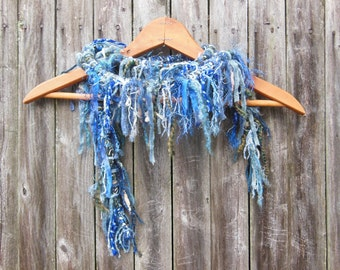 boa style scarf, wearable art, up cycled, one of a kind, denim blue. boho