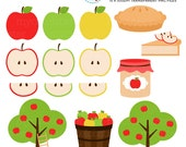 Apple Picking Clipart Set - apples, fall, apple picking, apple trees, pie, clip art - personal use, small commercial use, instant download