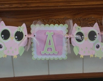 Its A Girl Owl Banner, Owl Mom and Baby Banner, Pink and Green Owl Baby Banner, Gender Reveal Baby Banner, Tissue Poms Are Available