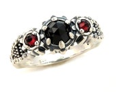 Silver Steampunk Engagement Ring - Rose Cut Black Spinel and Rose Cut Red Garnets