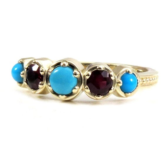 Ready to Ship 5.5-7.5 Pyrope Garnet and Turquoise Engagement Ring - Millgrain Band Antique Styled