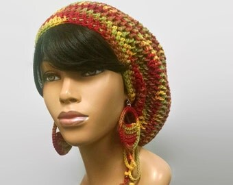 MADE TO ORDER Fall Leaves Colors Slouch hat/deadlock hat/ Rasta Hat with drawstring and free crochet earrings 100% Cotton Earth Tones
